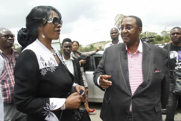 UPND vice president Geoffrey Mwamba with Sylvia Masebo at Lusaka's Magistrates Court in Lusaka-Picture by Tenson Mkhala