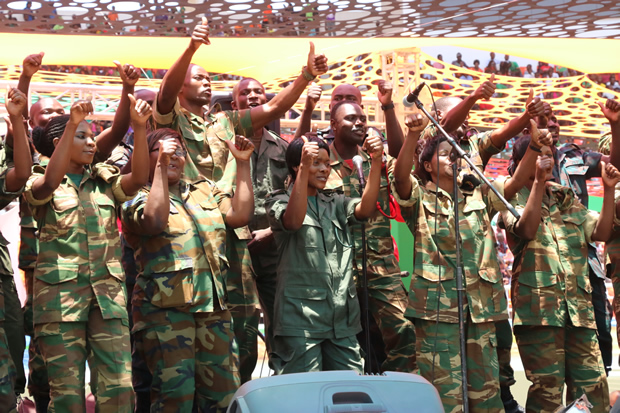 Defense and Security choir sing during National Prayers in Lusaka-Picture by Tenson Mkhala