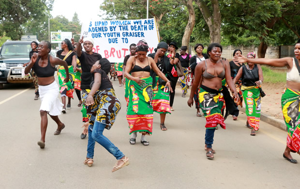 UPND women during a protest in Lusaka-Picture by Tenson Mkhala