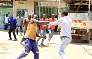 MMD cadres fight in Lusaka-Picture by Tenson Mkhala