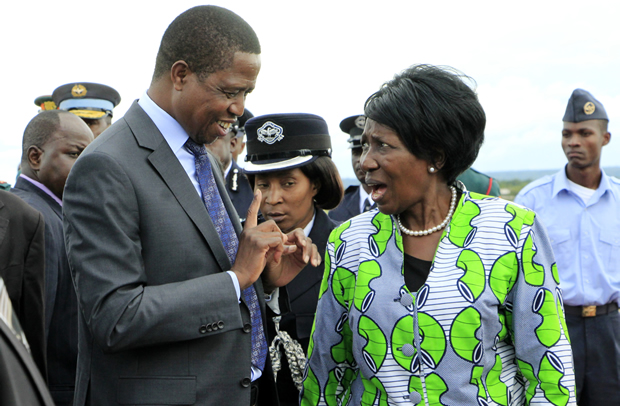 President Edgar Lungu speaks to his vice Inonge Wina at KKIA in Lusaka-Picture by Tenson Mkhala