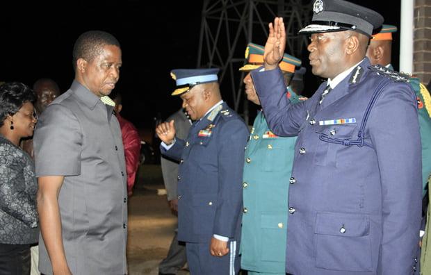 President Edgar Lungu with Inspector General of Police Kakoma Kaganja at KKIA in Lusaka-Picture by Tenson Mkhala