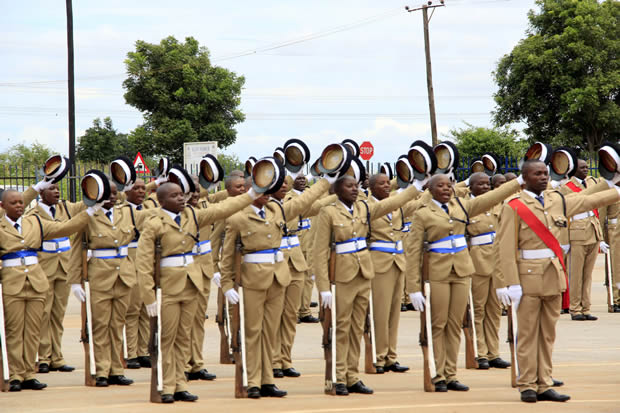 Zambia police officer durin a pass out parade in Lusaka's Lilayi police college-picture by Tenson Mkhala