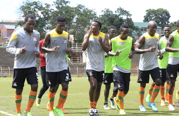 Chipolopolo team in training at Independence Stadium in Lusaka-picture by Tenson Mkhala