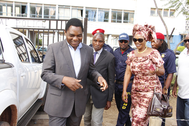 UPND president with former Chongwe MP Sylvia Masebo in Lusaka-picture by Tenson Mkhala