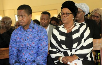 President Edgar Lungu with wife Esther in Chawama New Apostolic Church last year-Picture by Tenson Mkhala