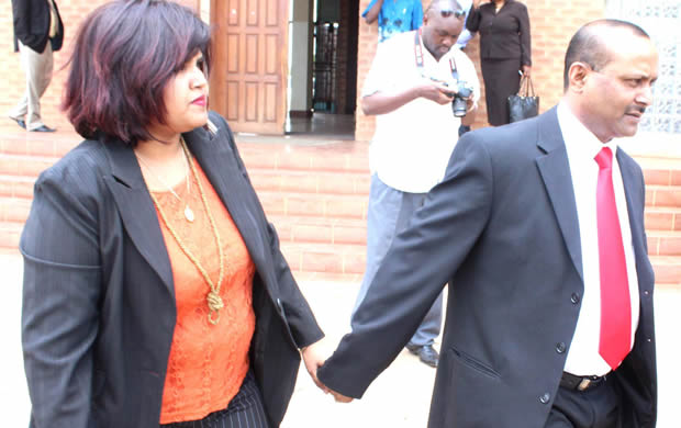 Gmae stors manager Vincent Palan with wife at Court in Lusaka-picture by Tenson Mkhala