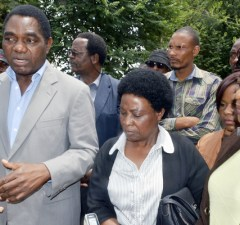 UPND Leader Hakainde Hichilema speaks to journalists shortly after visiting Oracle Media proprietor Mutinta Mazoka at Kabwata Police today - Picture by Tenson Mkhala