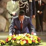 President Edgar Lungu prays at Jesus' tomb in Jerusalem