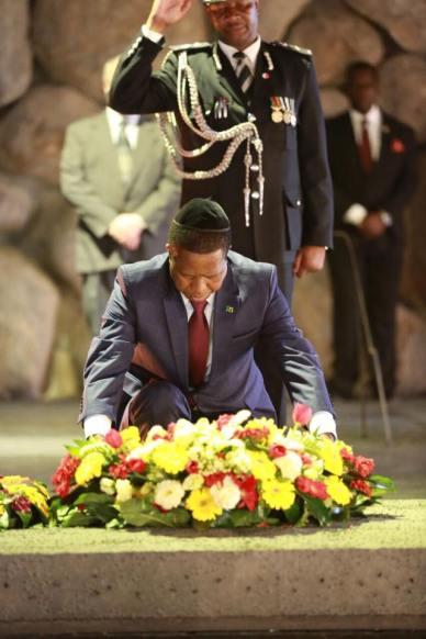 President Edgar Lungu prays at Jesus' tomb in Jerusalem recently