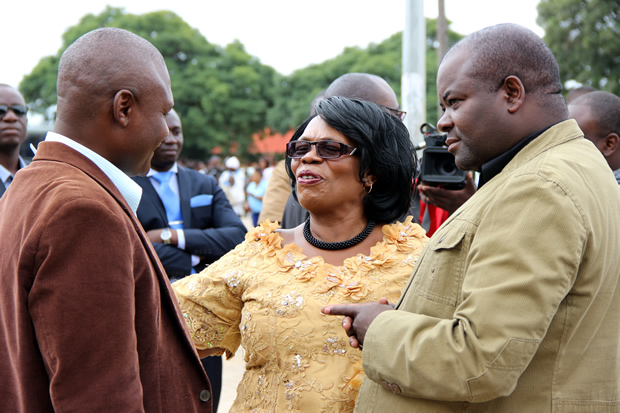 Housing and Infrastructure minister Ronald Chitotela (l), Higher education minister Nkandu Luo and PF deputy spokesperson Frank Bwalya during Youth Day celebrations in Lusaka-picture by Tenson Mkhala