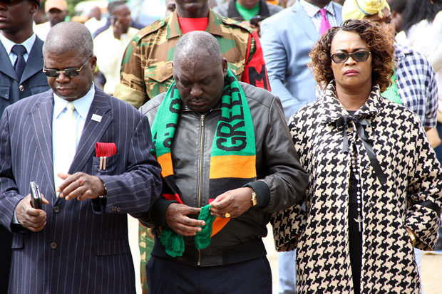 Defense minister Davis Chama (c) and PF deputy secretary general Mumbi Phiri at the Youthy Day celebrations in Lusaka-picture by Tenson Mkhala