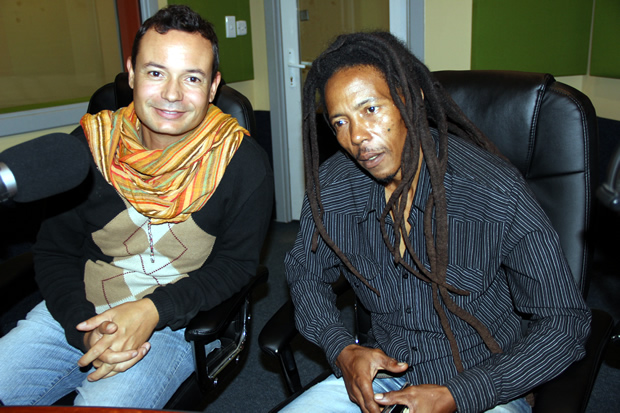 Human Rights Activists Maiko Zulu and David Wightman on UNZA radio during Lusaka Star program -picture by Tenson Mkhala