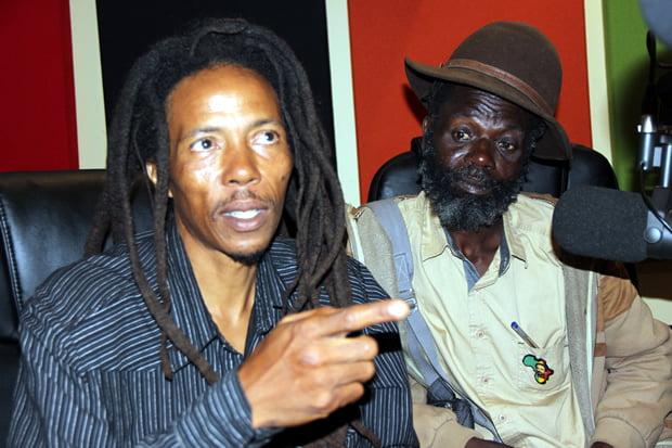Human Rights Activist Maiko Zulu on UNZA radio when he featured on Lusaka Star program as artist Chris Khuzuwayo looks on-picture by Tenson Mkhala