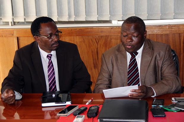 Zambia Congress of Trade Unions Secretary General Cosmas Mukuka and his deputy Elaston Njovu during a press briefing in Lusaka-picture by Tenson Mkhala