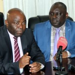 Home Affairs Minister Stephen Kampyongo and his Defense counterpart  Davies Chama during a joint press briefing on the death of Flight Sergeant Mark Choongwa in Lusaka -picture by Tenson Mkhala