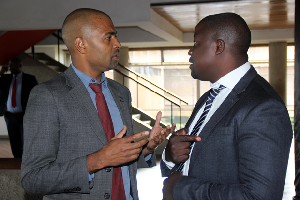 Chipangali MP Vincent Mwale with Kapiri Mposhi MP Stanley Kakubo at Parliament building in Lusaka-picture by Tenson Mkhala