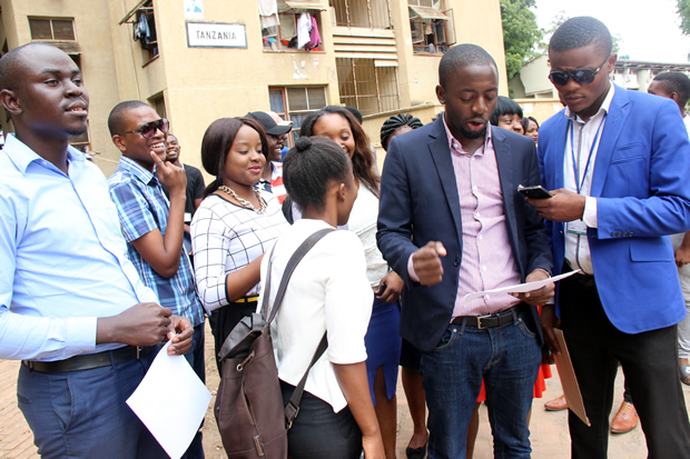 Zambia National Student Union vice president reads a statement to journalist in Lusaka-picture by Tenson Mkhala