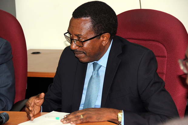 Secretary to Treasury Fredson Yamba during press briefing in Lusaka-picture by Tenson Mkhala