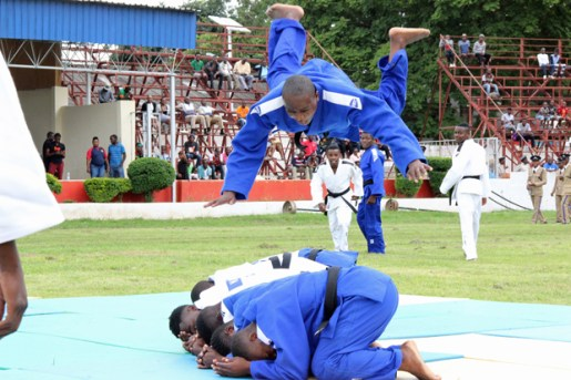 Judokas perform at the Police Day at the Lusaka showgrounds on March 4 - Picture by Joseph Mwenda