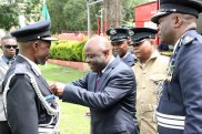 Home affairs minister Stephen Kampyongo awards officers at the 2017 Police Day at the Lusaka showgrounds on March 4 - Picture by Joseph Mwenda