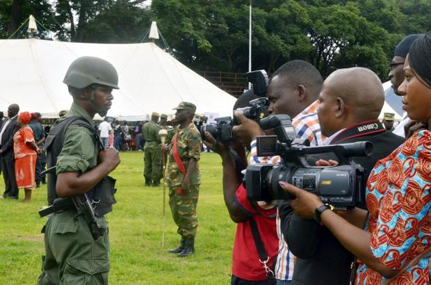 Some photo-journalists during Womens Day celebration in Lusaka-picture by Tenson Mkhala