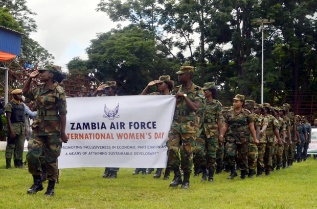 Zambia Air Force brass band during Women Day celebrations in Lusaka-picture by Tenson Mkhala