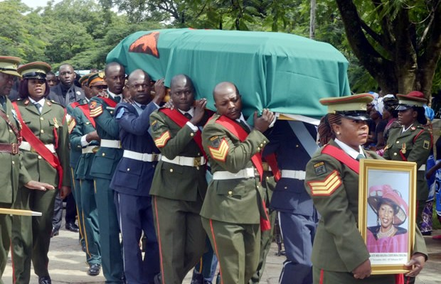 Pole bearers carrying Regina's casket at Cathedral of the Holy Cross in Lusaka-picture by Tenson Mkhala
