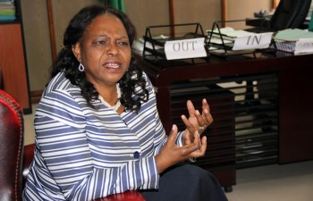 Ministry of National Guidance and Religious Affairs Godfridah Sumaili during an interview at her office in Lusaka-picture by Tenson Mkhala