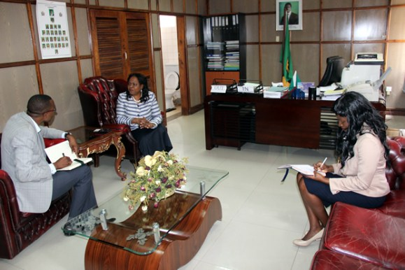 Ministry of National Guidance and Religious Affairs Godfridah Sumaili during an interview with News Diigers at her office in Lusaka-picture by Tenson Mkhala