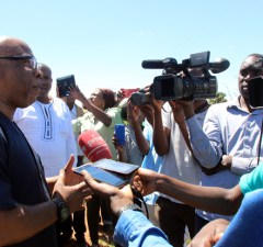 Nerves Mumba speaks to journalist at Lilayi turn off shortly after being blacked by police officers-picture by Tenson Mkhala
