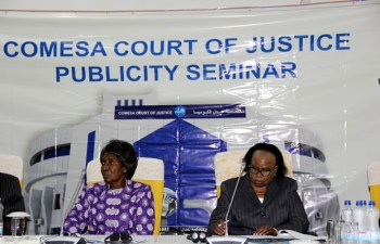 Vice president Inonge Wina with Chief Justice Lombe Chibesakunda during the official opening of the publicity seminar for Zambia by the COMESA court of Justice at Mulungushi International Conference Center in Lusaka-picture by Tenson Mkhala