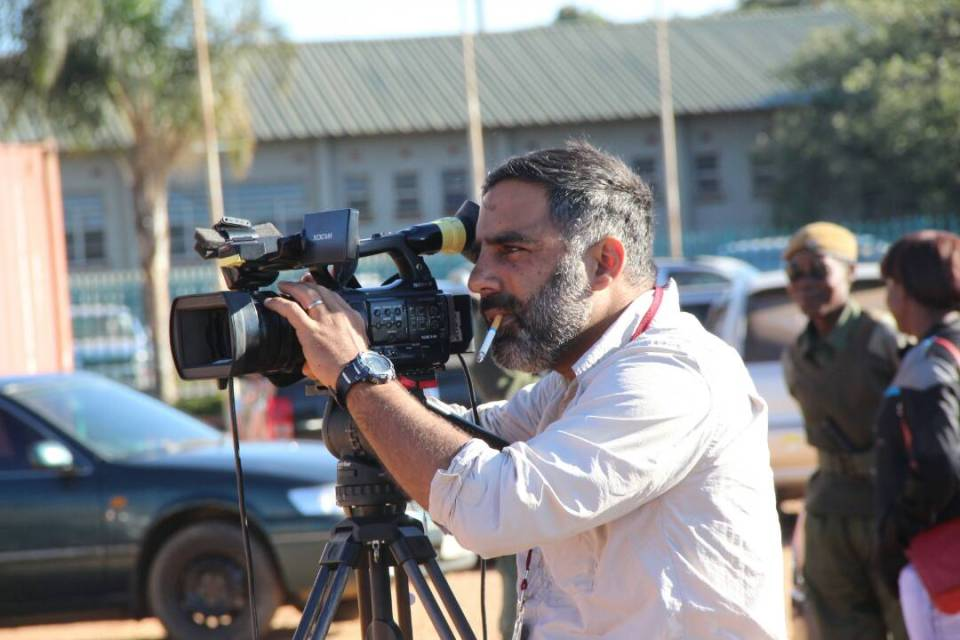 An Al Jazeera News crew sets up camera equipment outside the Lusaka Magistrate's Court in Lusaka – Picture by Tenson Mkhala