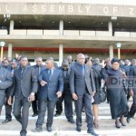 UPND members of parliament leave the House after Speaker announced their 30 days suspension