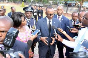 Rwanda President Paul Kagame speaks to journalist shortly after laying a wreath at late president Michael Chilufya Sata, late president Levy Patrick Mwanawasa, and late president Frederick Chiluba's graves at Embassy Park in Lusaka- Picture by Tenson Mkhala