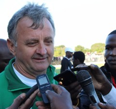 Zesco United coach Serbian Zlatko Krmpotic speaks to journalist shortly after the game against City of Lusaka at Woodlands Stadium, Zesco won 1-0 Picture By Tenson Mkhala