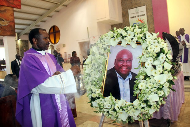 Fr Leonard Namuhumba during church service of late Health permanent secretary John Moyo at the Cathedral of the Child Jesus Catholic church in Lusaka picture by Tenson Mkhala