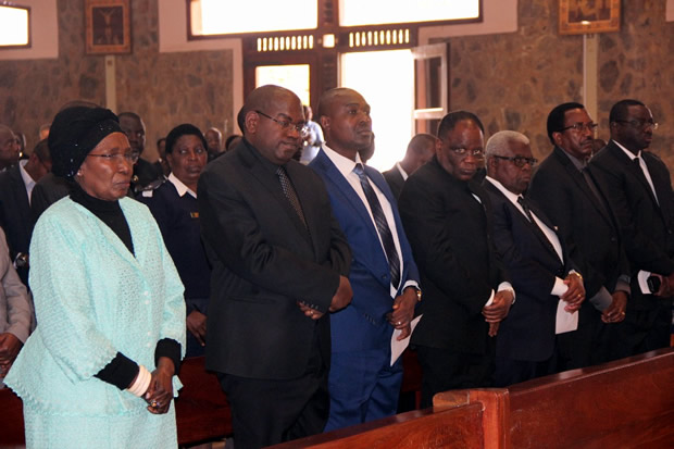 Vice president Inonge Wina with minister during church service of late Health permanent secretary John Moyo at the Cathedral of the Child Jesus Catholic church in Lusaka picture by Tenson Mkhala