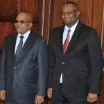 Mwamba with South Africa's President Jacob Zuma (l)