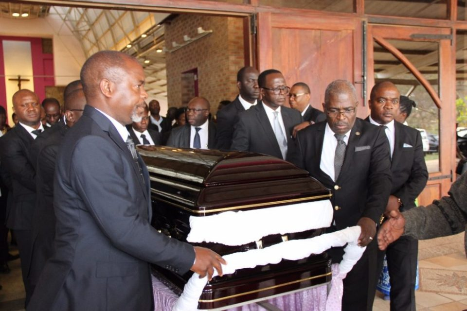 Late Health permanent secretary John Moyo's casket leaves Cathedral of the Child Jesus in Lusaka picture by Tenson Mkhala