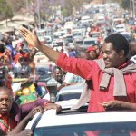 HH leads UPND procession to the party secretariat in Rhodespark after being released from Lusaka Central Prison on August 16, 2017 - picture by Tenson Mkhala