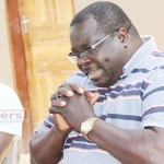 Former Information minister Chishimba Kambwili speaks to journalists at his house in Lusaka September 4, 2017 picture by Tenson Mkhala