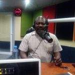 Minister of National Planning and Development Lucky Mulusa at Unza Radio today - picture by Thomas Mulenga