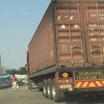 A truck loaded with Mukula parked at Garden Police station - Picture by Mukosha Funga