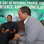 Miles Sampa greets President Edgar Lungu during the National Day of Prayer on October 18, 2017