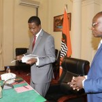 Amos Chanda with President Lungu at State House