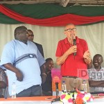 Former vice-president Guy Scott address NDC members as Kambwili and party general secretary listen - Picture by Joseph Mwenda