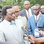 Democratic Republic of Congo President Joseph Kabila speaks to journalists shortly after laying  wreaths on the three late president's graves at Embassy Memorial Park in Lusaka on February 18, 2018 - Picture by  Tenson Mkhala