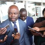Home Affairs minister Stephen Kampyongo speaks to journalists shortly after President Edgar Lungu's address to Parliament on March 16, 2018 - Picture by Tenson Mkhala