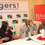 Information Minister Dora Siliya, Director general National Union for Small Farmers of Zambia (NUSFAZ) Dr Frank Kayula and  HIVOS Country director William Chilufya at a public discussion forum organised by News Diggers!  in partnership with HIVOS at Southern Sun Hotel on March 16, 2018 - picture by Tenson Mkhala